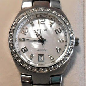 """Fossil AM4141""""Colleague"""" Stainless Crystal Watch"""